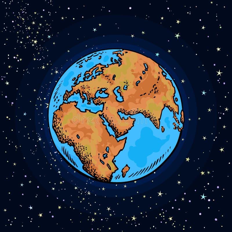 Earth Day. Cartoon hand drawn Earth on night sky background. Vector illustration royalty free illustration
