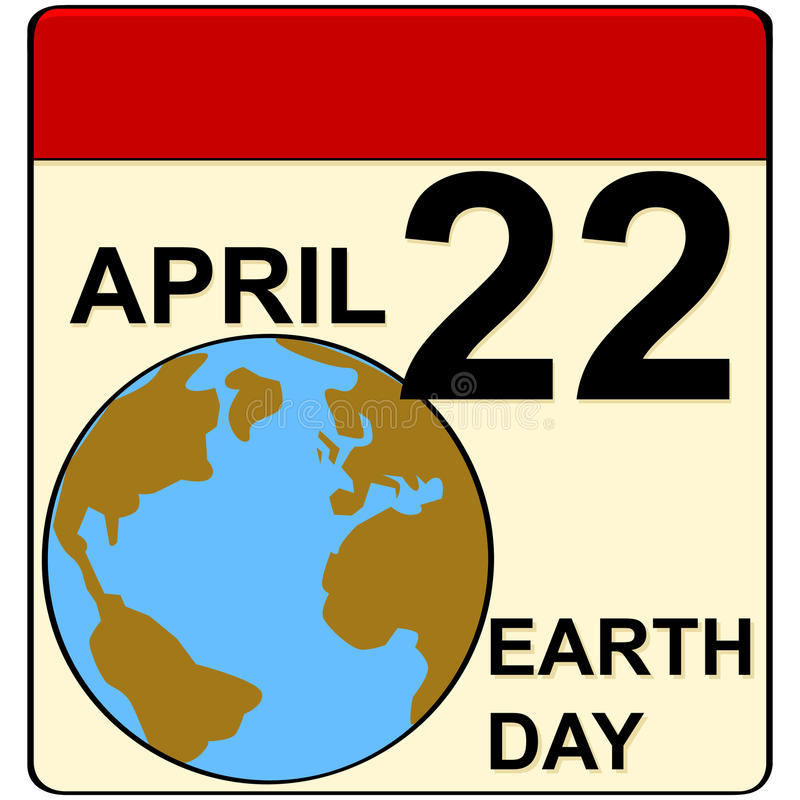 Earth Day. Cartoon illustration showing a calendar set to April 22, when Earth Day is celebrated vector illustration