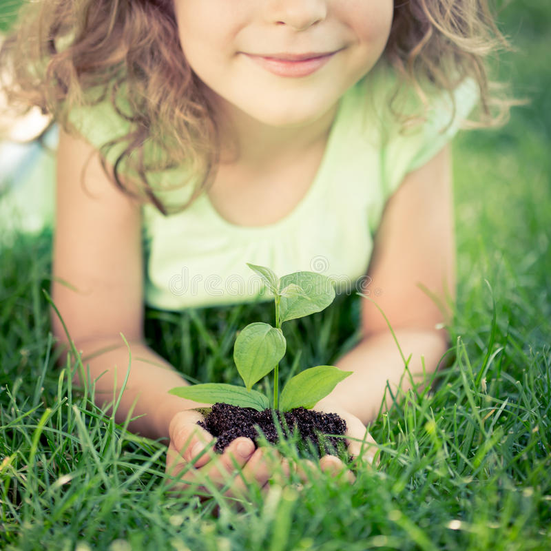 Earth day. Child holding young green plant in hands. Kid lying on grass in spring park. Earth day concept royalty free stock images