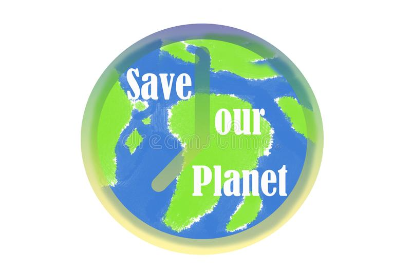 Earth day - clock earth globe on white royalty free illustration