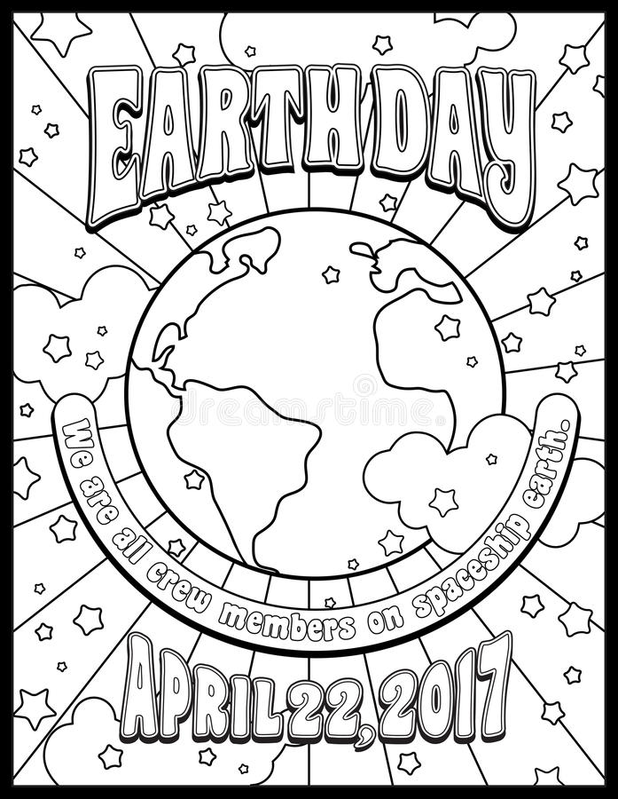 Download Earth Day Coloring Page Stock Vector Illustration Of Card