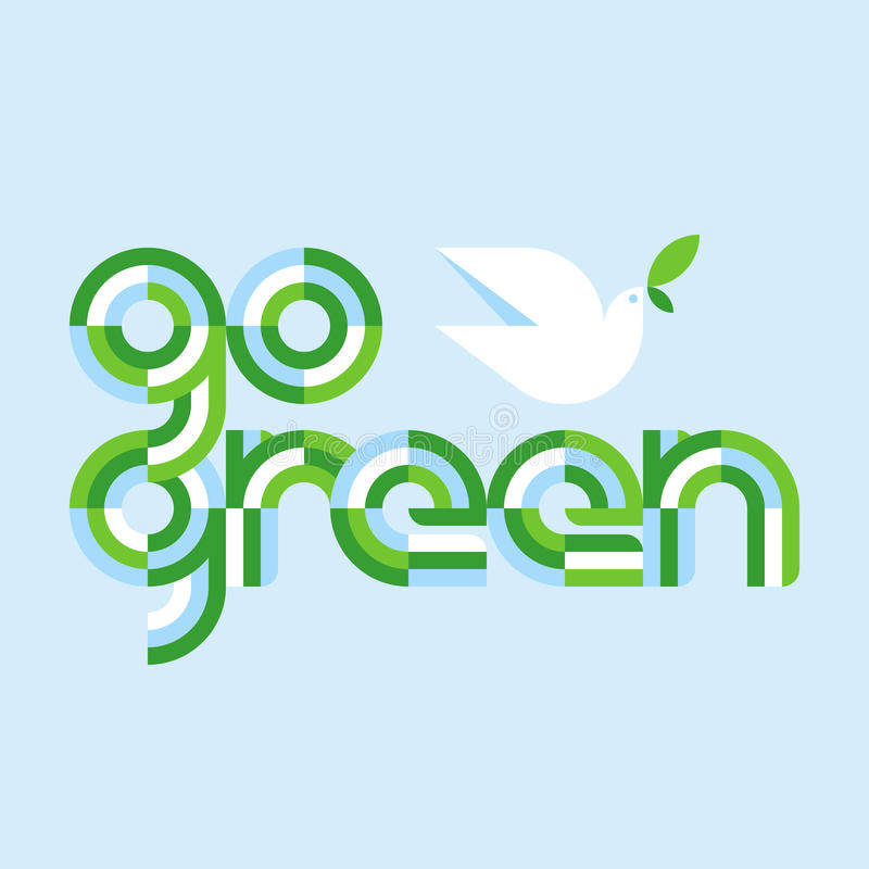 Earth day concept with go green lettering and white peace dove vector illustration