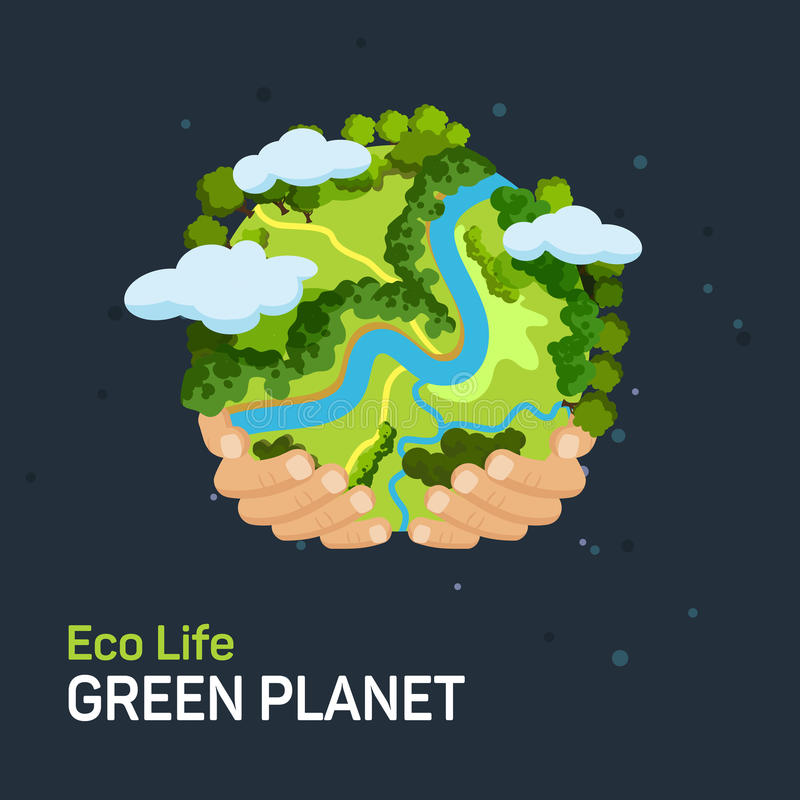 Earth day concept. Human hands holding floating globe in space. Save our planet. Flat style vector illustration stock illustration