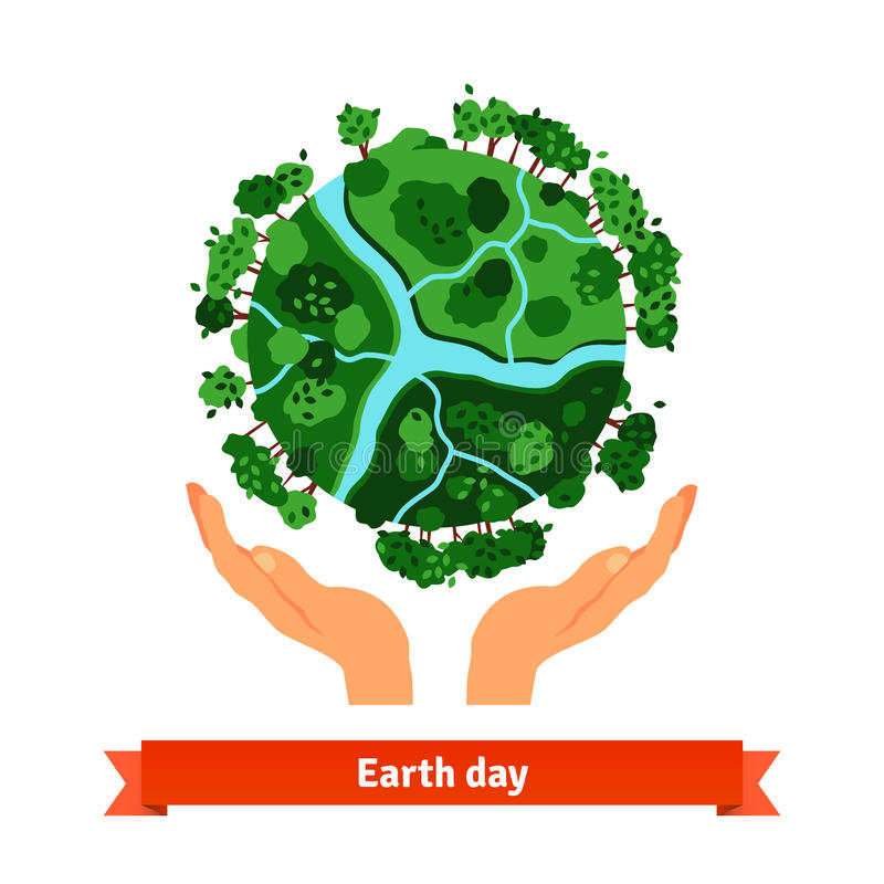 Earth day concept. Human hands holding globe stock illustration