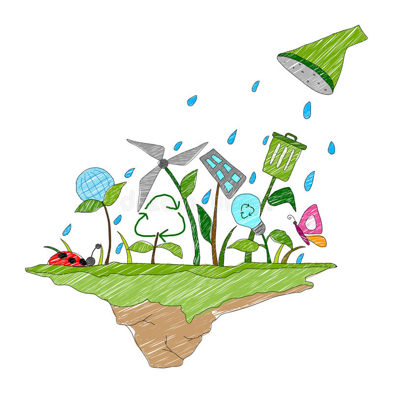 Earth Day concept. Illustration of Earth Day concept for a healthy future stock illustration