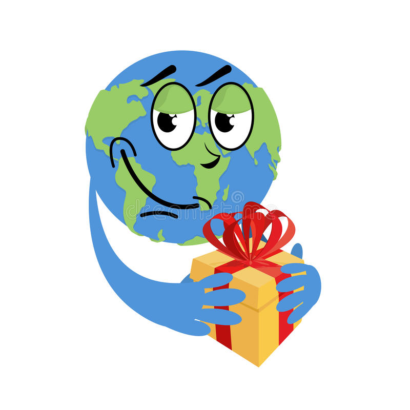 Earth Day. Earth and gift. Holiday yellow box with red bow. Day stock illustration