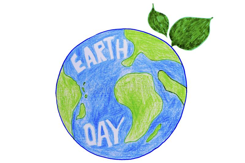 Earth day - earth globe with green leaf illustration on white vector illustration