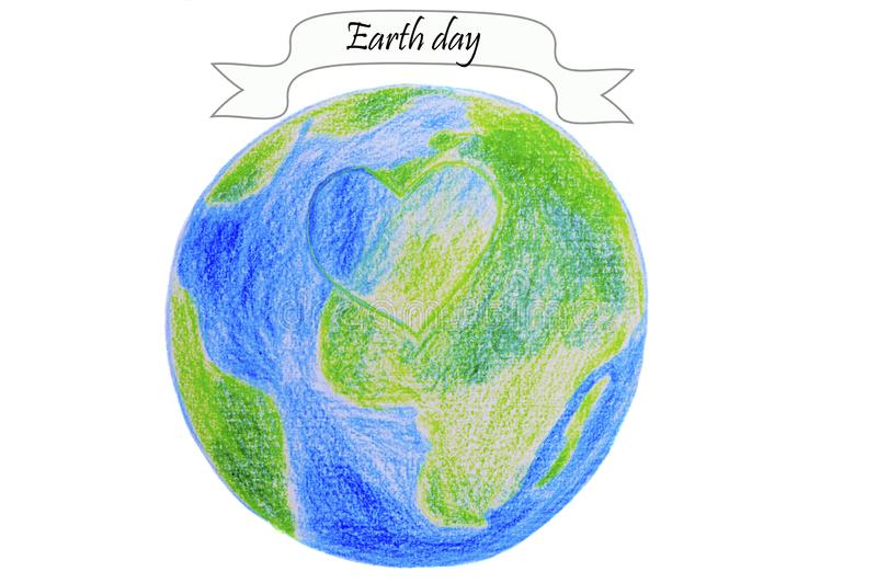 Earth day - earth globe and heart illustration on white vector illustration