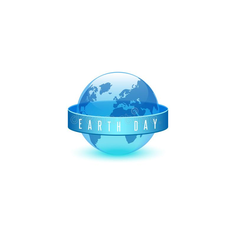 Earth day ECO emblem, world environment day concept, slogan of words on ribbon, translucent plastic blue 3d ball in the form of royalty free illustration