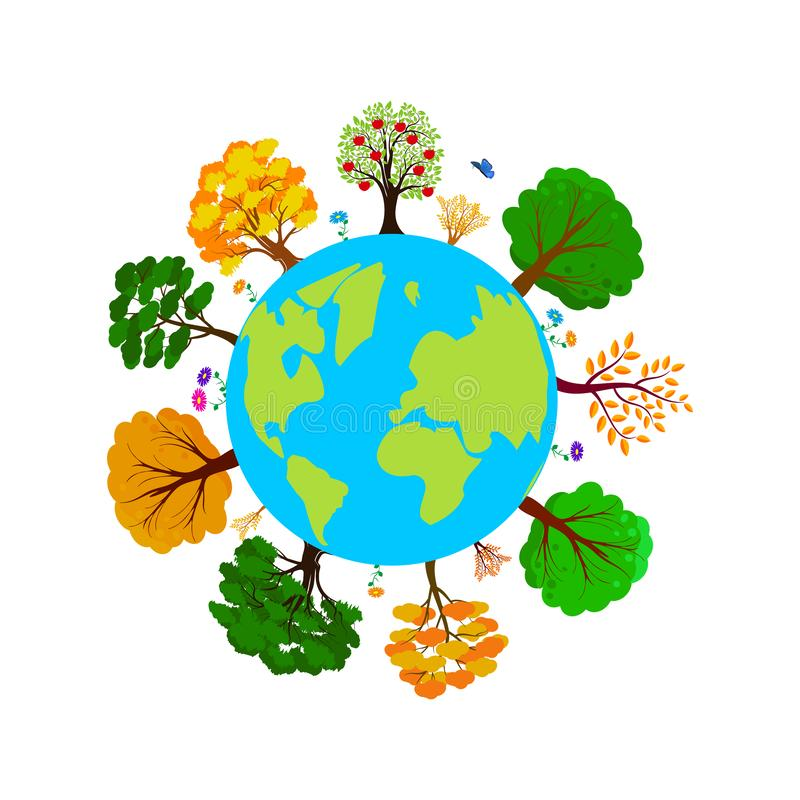 Earth day. Ecology concept with Green Eco Earth and Trees. World environment day background. Save the earth. Vector stock illustration