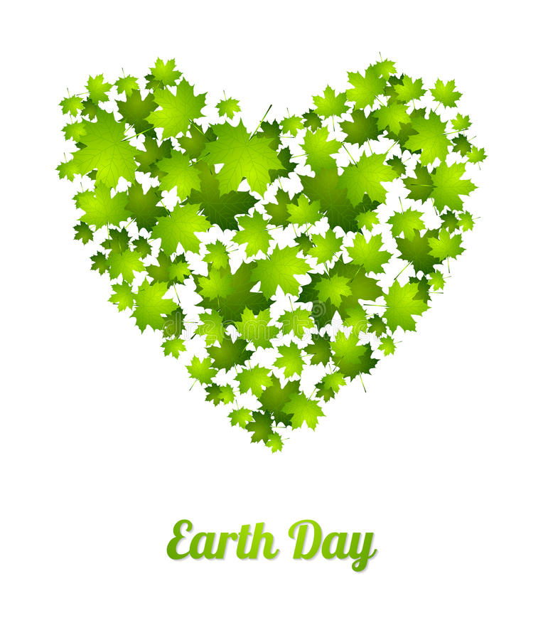 Earth Day ecology green leaves vector background. Earth Day ecology green abstract background. Heart from leaves. Summer vector graphic design stock illustration