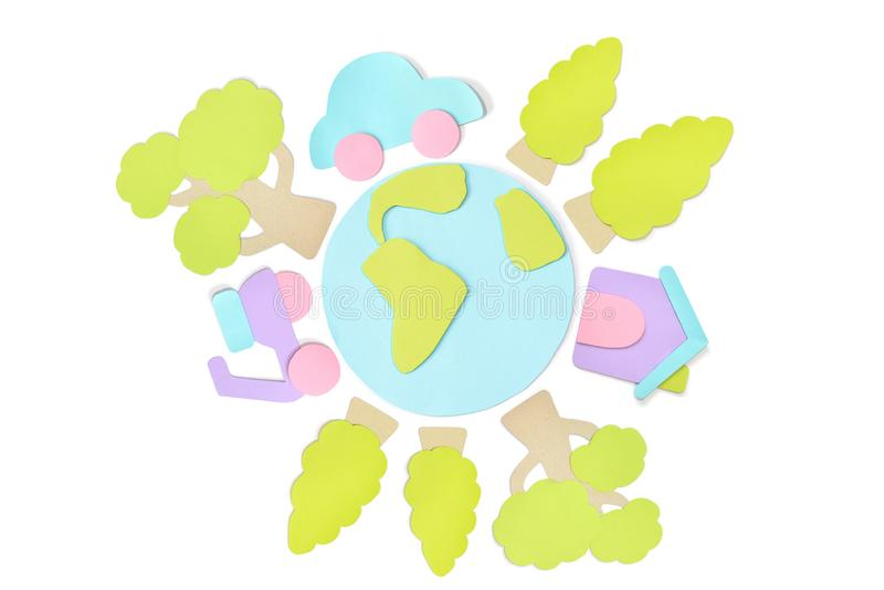 Earth day element paper cut on white background stock illustration