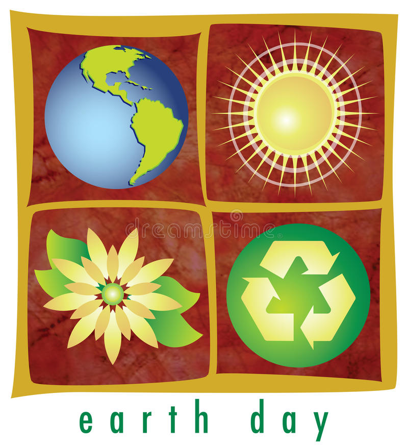 Earth Day Elements. Earth, sun, flower and the recycled symbol adorn this retro-modern illustration, useful in a variety of applications for Earth Day and more vector illustration
