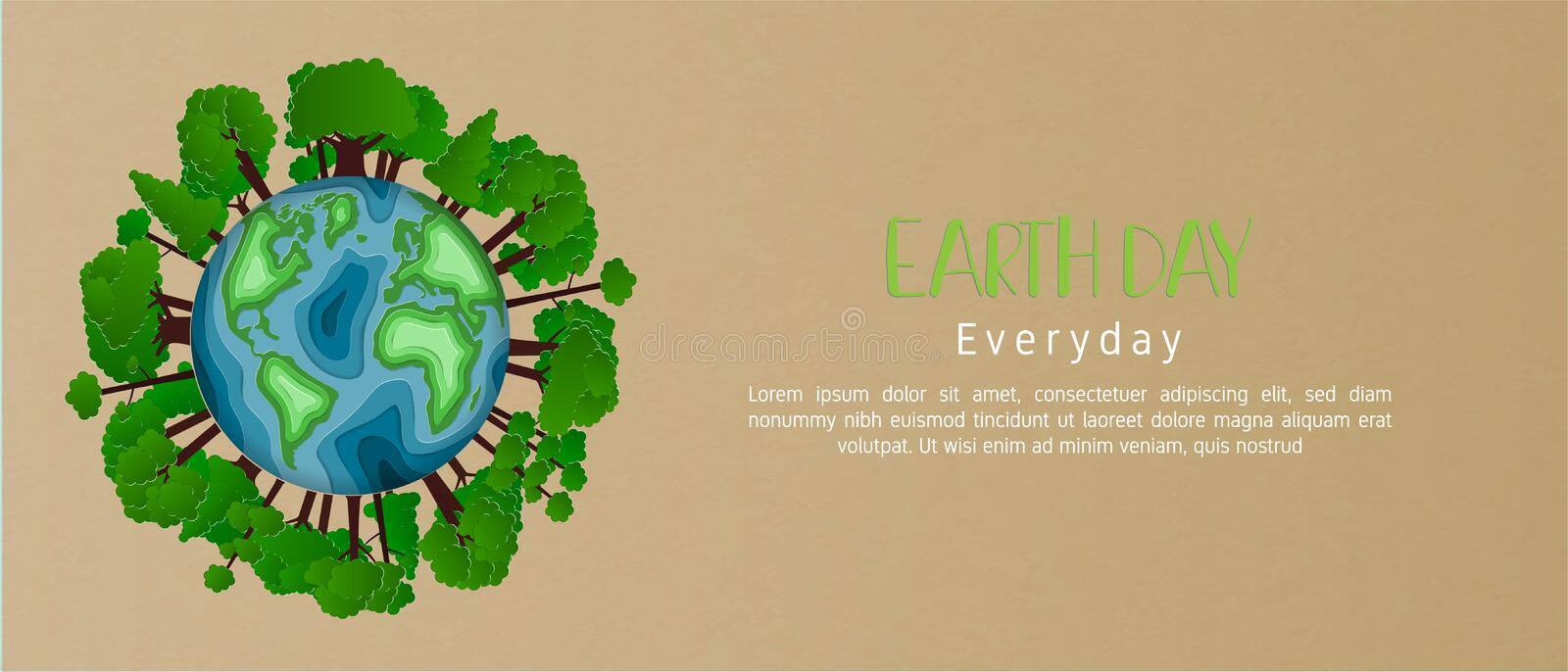 Earth day everyday concept in paper cut style. 3d paper art. Origami made carving Earth map shapes with tree forest on background royalty free stock image