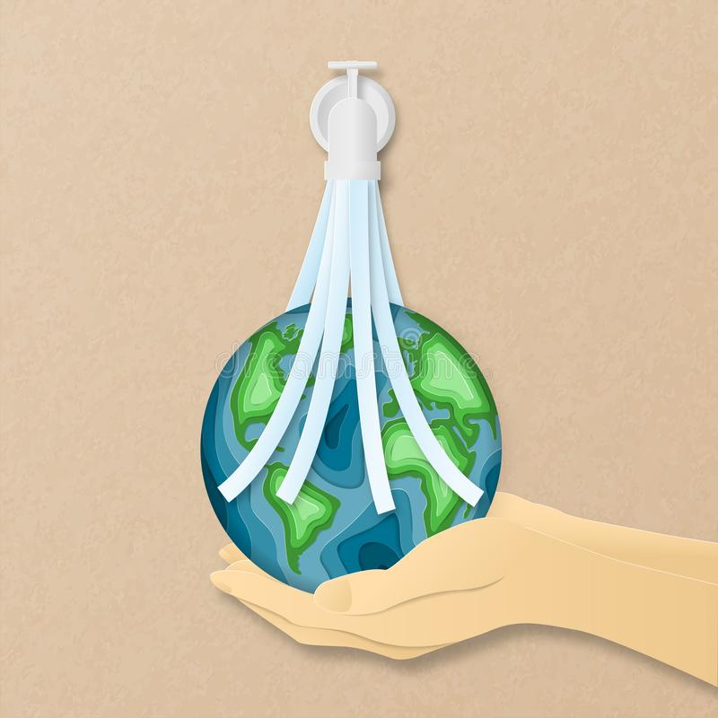 Earth day everyday concept in paper cut style. 3d paper art. Origami made carving Earth map shapes with water flowing from tube stock images