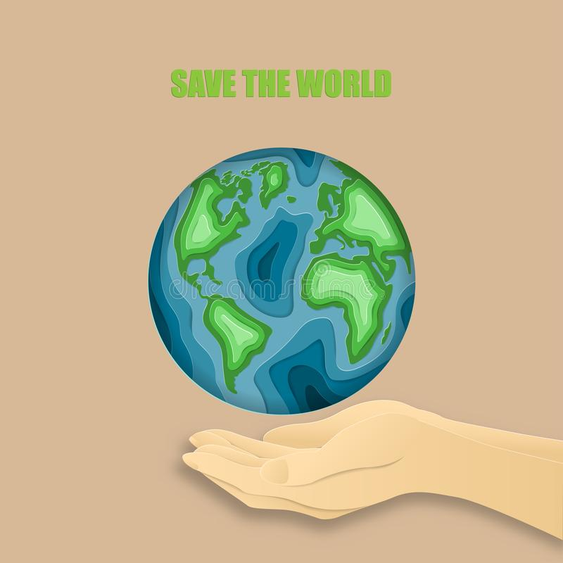 Earth day everyday concept in paper cut style. 3d paper art. Origami made a human hand and carving Earth map shapes on background royalty free stock photography