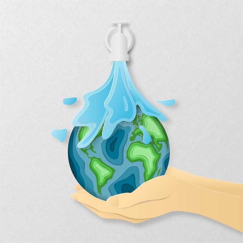 Earth day everyday concept in paper cut style. 3d paper art. Origami made a Water flows down from the pipe on carving earth map royalty free stock photo