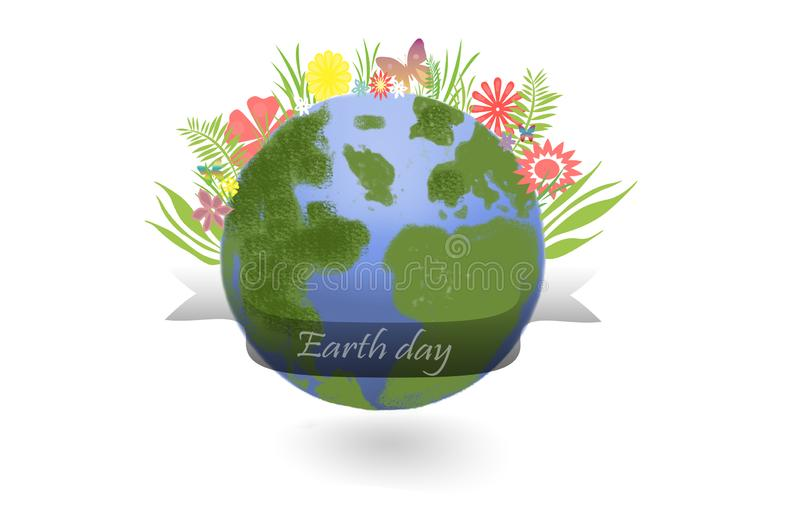Earth day - earth globe with leaves and flower on white royalty free illustration