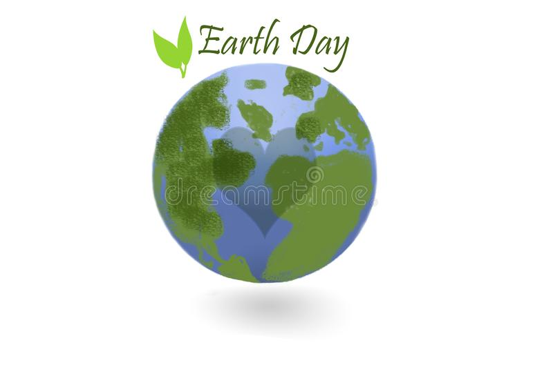Earth day - earth globe and leaves on white vector illustration