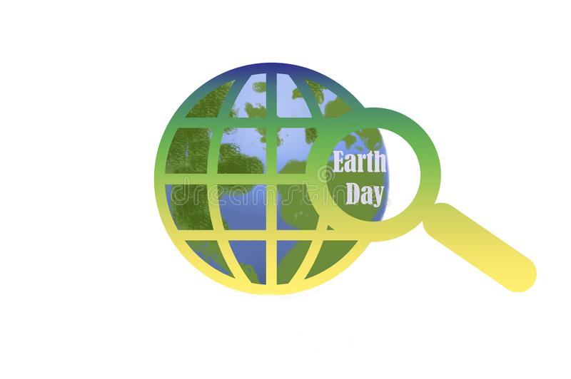 Earth day - globe and magnifying glass on white stock illustration
