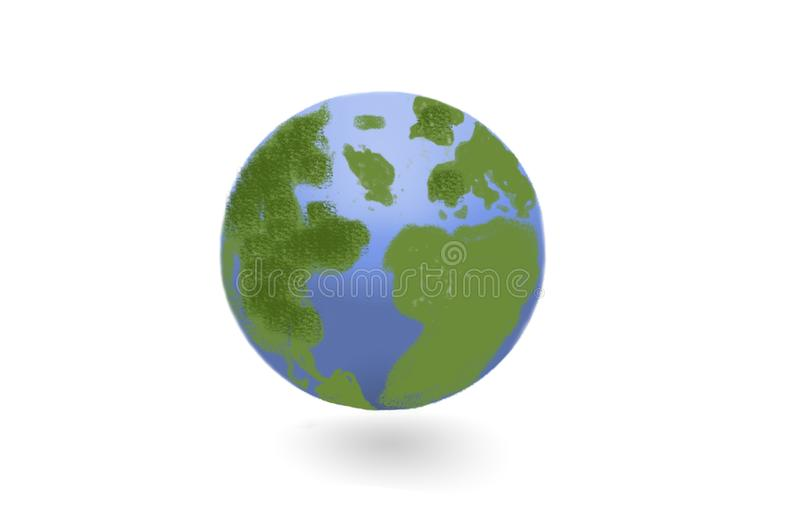 Earth day - earth globe on white royalty free illustration