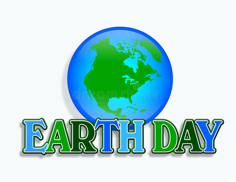 Earth Day Graphic. Illustration for Earth Day with planet Earth and 3D text symbol or logo royalty free illustration