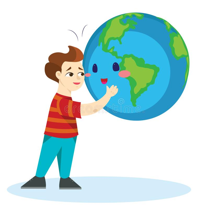 Earth day, happy boy hugging planet, ecology concept of love the world, green and blue globe protection, global eco save. Nature vector illustration isolated on royalty free illustration