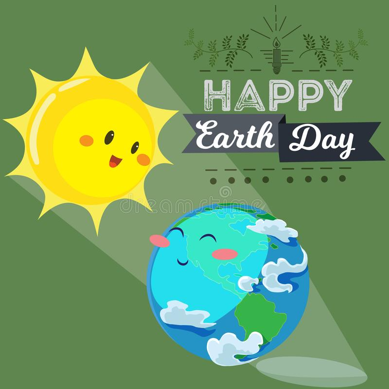 Earth day, happy sun heats earth with its yellow warm rays, ecology concept of love the world, green and blue globe vector illustration