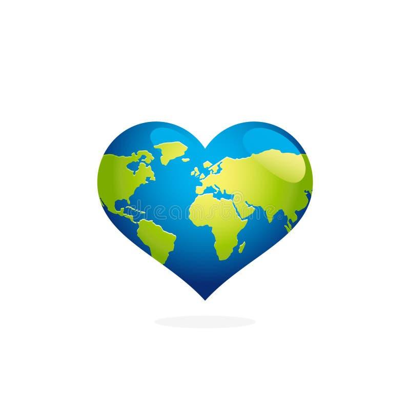 Earth day heart shaped globe vector. Blue planet map illustration. vector illustration