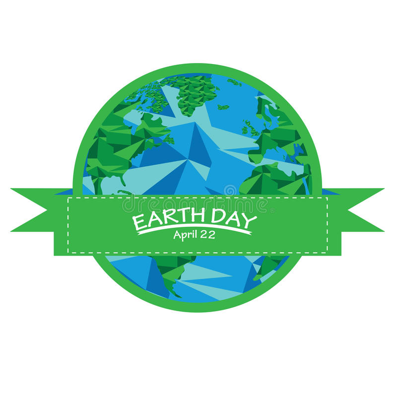 Earth day. Isolated banner with a ribbon and a low poly earth for Earth day stock illustration