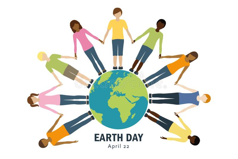 Earth day kids around the world vector illustration