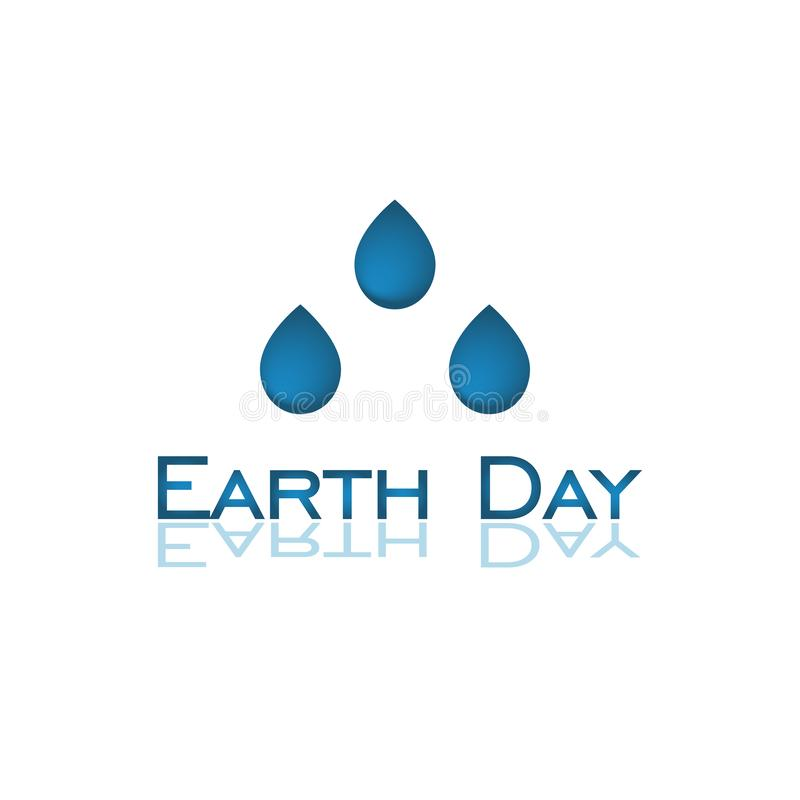Earth Day logo. Earth Day is an annual event. Three drops on white background. Vector logo in flat style royalty free illustration