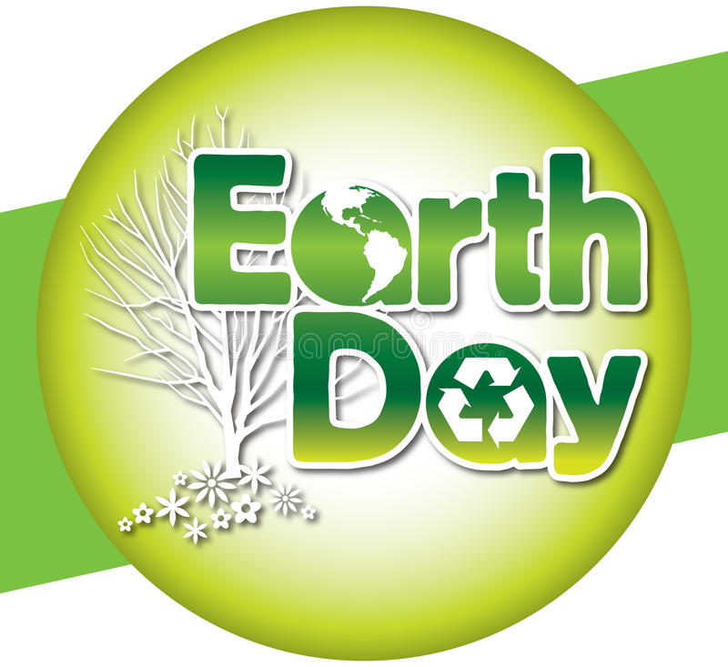 Earth Day Logo Type. Announce Earth Day with this green logo type containing the earth and recycled symbol. This retro-modern illustration is useful in a variety stock illustration