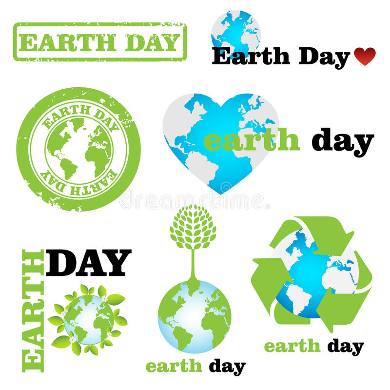 Earth day logos. Set of earth day logos isolated on white background.EPS file available stock illustration