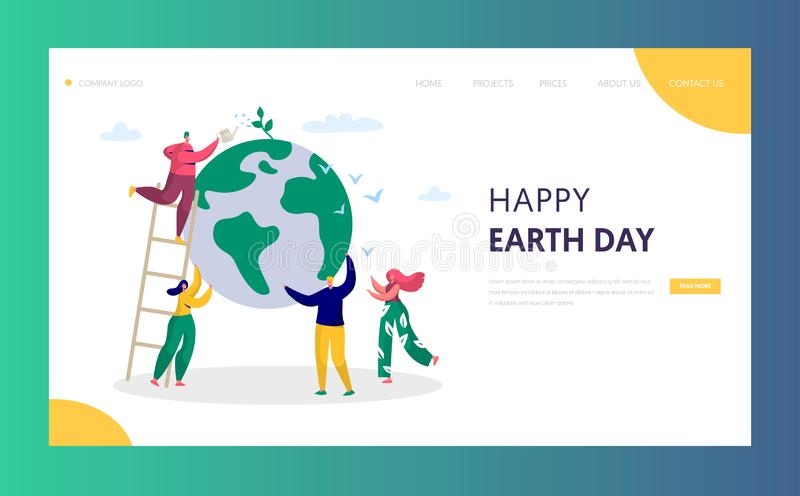 Earth Day Man Save Green Planet Environment Landing Page People of World Water Plant for Ecology Celebration Preparation vector illustration