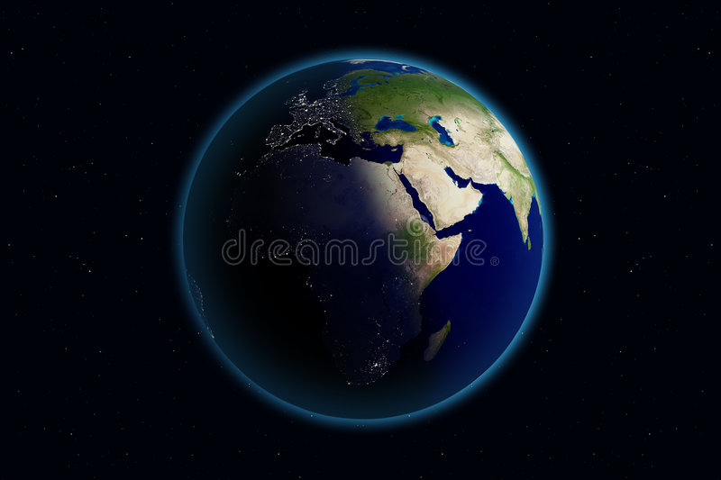 Earth - Day & Night - Europe royalty free illustration