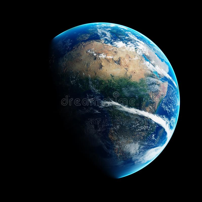 Earth day and night space view vector illustration