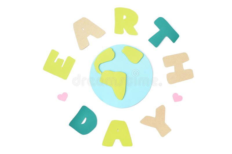 Earth day paper cut on white background stock photos
