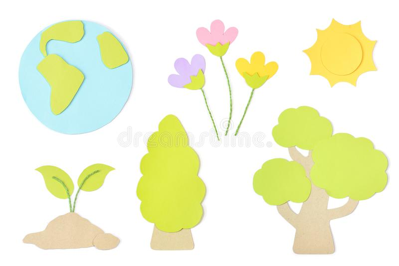 Earth day paper cut on white background vector illustration
