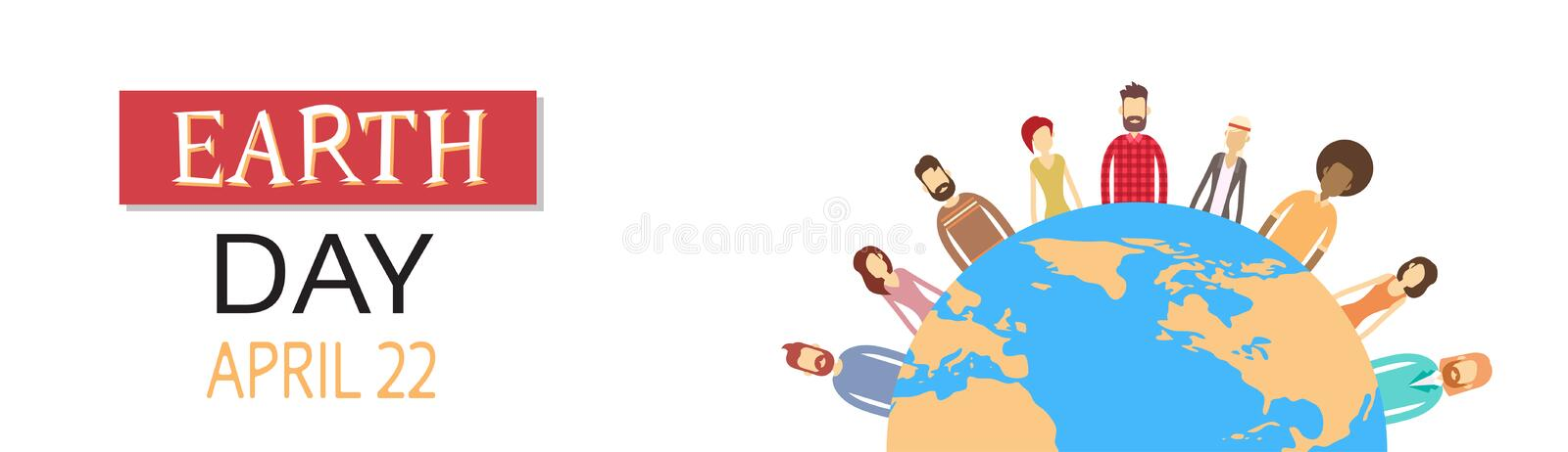Earth Day People Group Stand Around Globe Concept. Horizontal Banner Flat Vector Illustration stock illustration