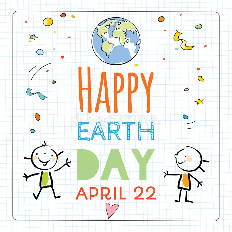 Earth day poster, background vector illustration
