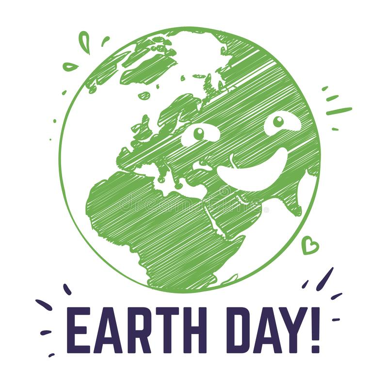 Earth day poster. Planet environmental world symbol environ safety celebration date postcard with typography. Peace home vector illustration
