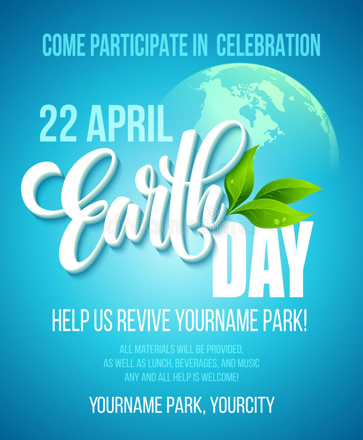 Earth Day poster. Vector illustration with the Earth day lettering, planets and green leaves vector illustration