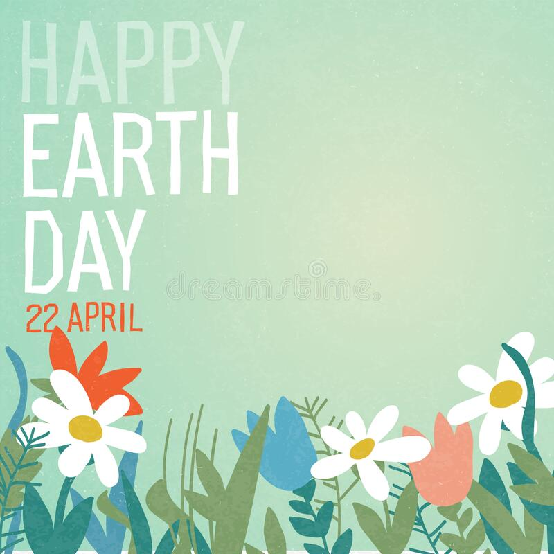 Free Earth Day Poster With Abstract Flowers. Happy Earth Day, 22 April. Sky And Flowers On Green Background Royalty Free Stock Image - 216807766