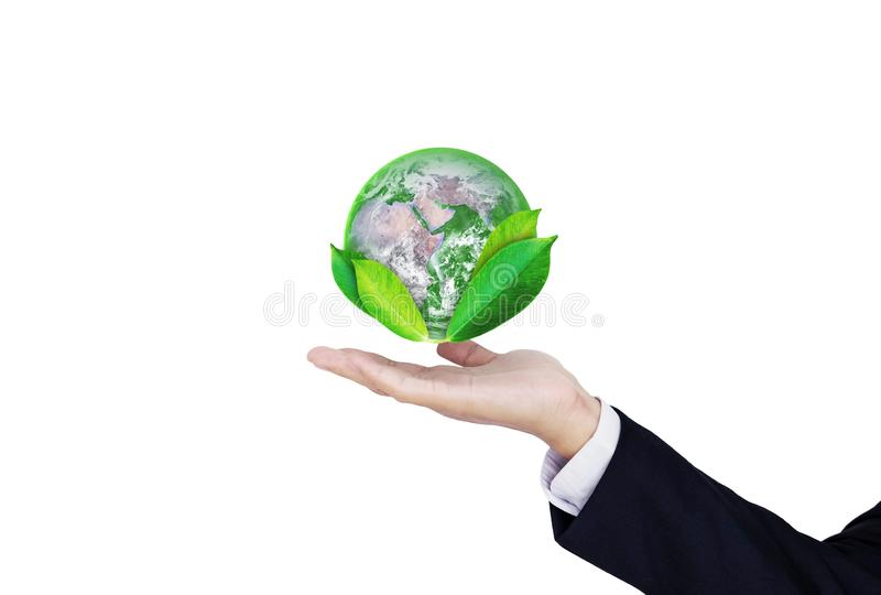 Earth day, Protect the world with environment and Eco-friendly business. Businessman hand holding globe with leaves,  on w royalty free stock photo