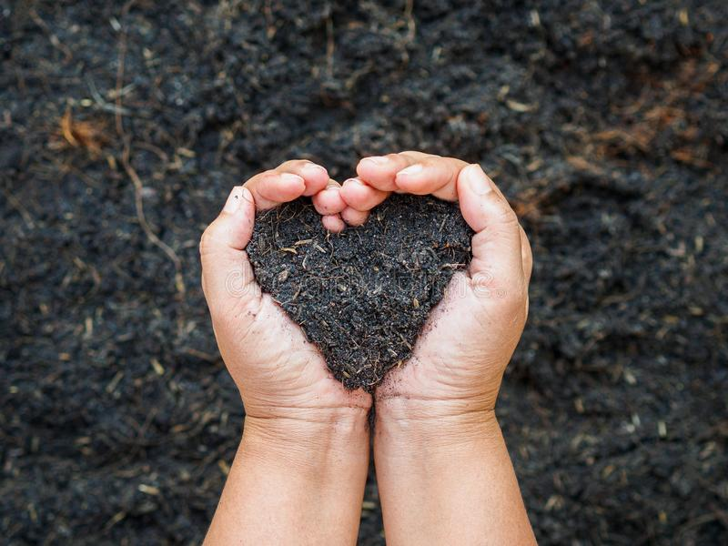Earth day, save the earth, love concept. the woman hand holding a royalty free stock image