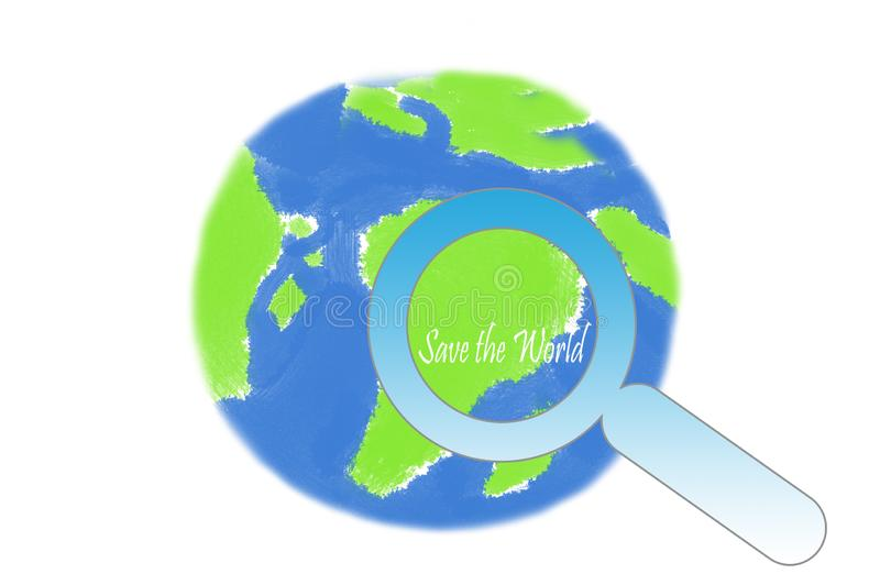 Earth day - save the world magnifying glass and earth globe. On a white background royalty free illustration