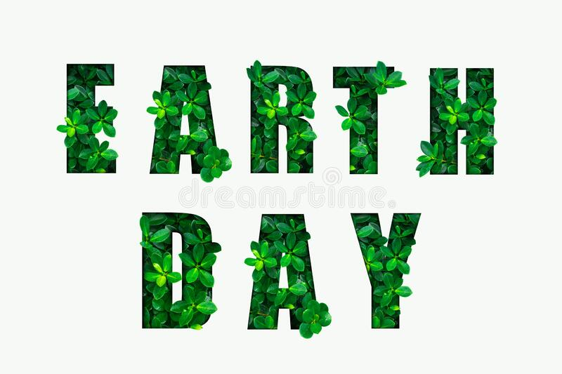 EARTH DAY text on white background stock illustration