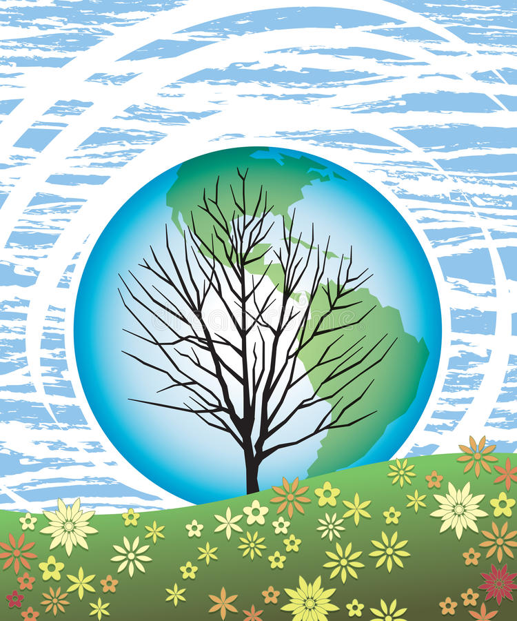 Earth Day Tree 1. A tree reaches to the sky, our earth behind and a field of flowers in front, in this retro-modern illustration, useful in a variety of royalty free illustration