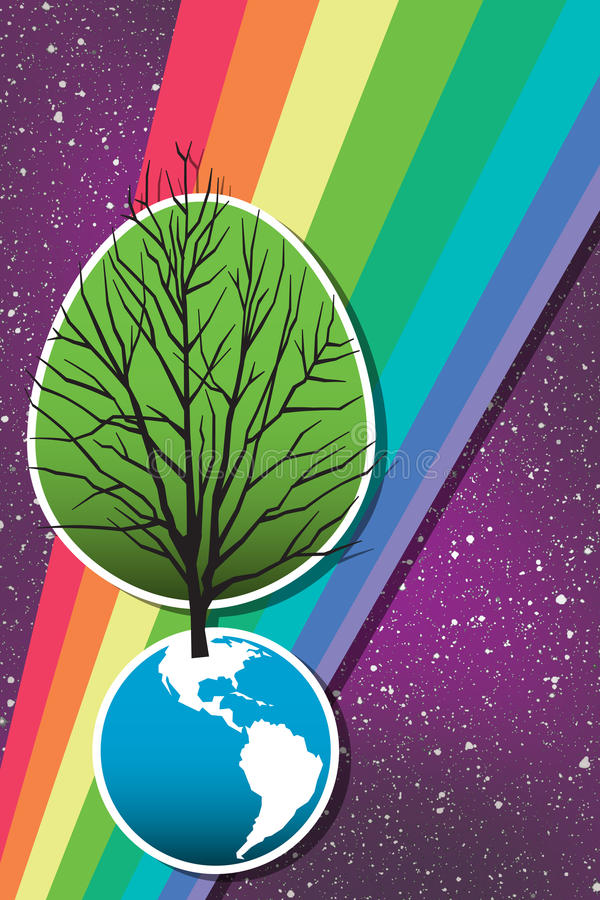 Earth Day Tree 2. A tree grows from the earth, rainbow and stars behind, in this retro-modern illustration, useful in a variety of applications for Earth Day and stock illustration